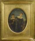 Oil on panel portrait of two brothers and their cat earlymid 19th c