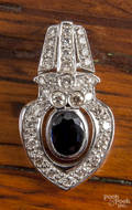 14K white gold enhancer with a center oval blue sapphire surrounded by accent diamonds of various sizes