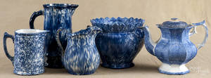 Four pieces of blue and white spongeware