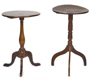 Two country walnut candlestands