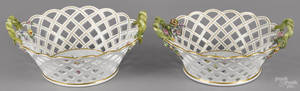 Pair of Meissen reticulated porcelain baskets late 19th c