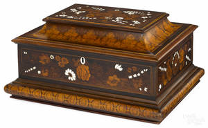 Dutch marquetry inlaid jewelry case late 19th c
