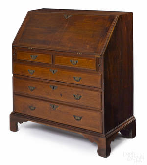 Pennsylvania Queen Anne walnut slant front desk ca 1740