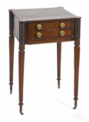 New England Sheraton mahogany twodrawer sewing stand ca 1820
