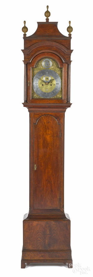 New Jersey Queen Anne walnut tall case clock ca 1760
