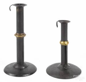 Two Pennsylvania tin hogscraper candlesticks 19th c