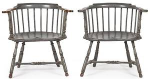 Pair of contemporary lowback Windsor armchairs
