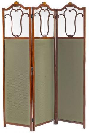 Threepanel mahogany folding screen with line inlay