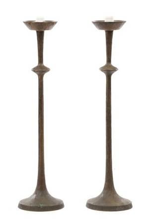 Pair of Tom Corbin Bronze Table Lamp Bases