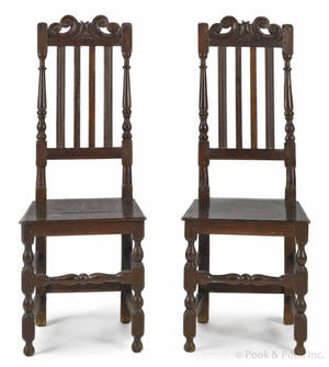 Pair of Jacobean oak banisterback side chairs