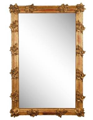 Large Carved Giltwood Mirror With Grape Leaf Motif