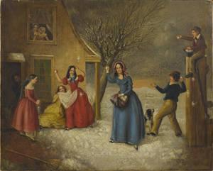 American oil on canvas genre scene mid 19th c