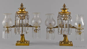 Pair of gilt bronze argand lamps mid 19th c