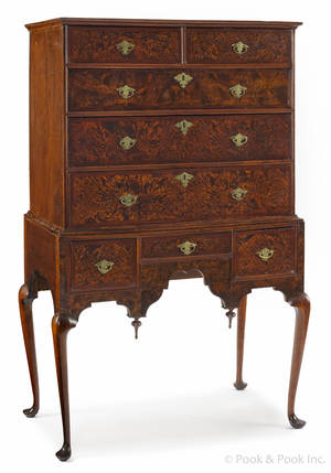 Boston Queen Anne burl veneer high chest ca1750