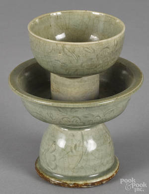 Chinese carved celadon drinking vessel