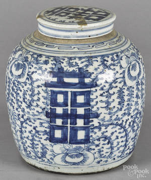 Chinese Qing dynasty blue and white porcelain ginger jar