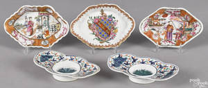 Two Chinese export porcelain Mandarin palette condiment dishes 19th c