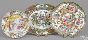 Chinese export porcelain famille rose platter 19th c