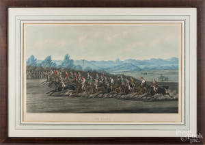 Color engraved horse racing scene