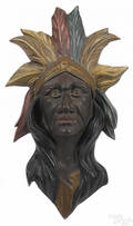 New York painted zinc Indian chief carousel mount early 20th c
