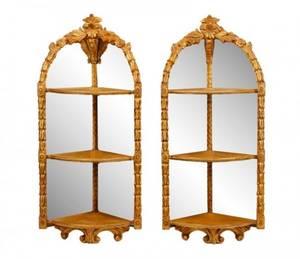 Pair Italian Giltwood Mirror Back Corner Etageres