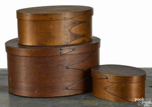Three New England Shaker style bentwood boxes 19th c