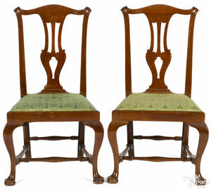 Pair of New England Queen Anne mahogany dining chairs ca 1765