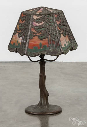 Handel bronze and slag glass boudoir lamp