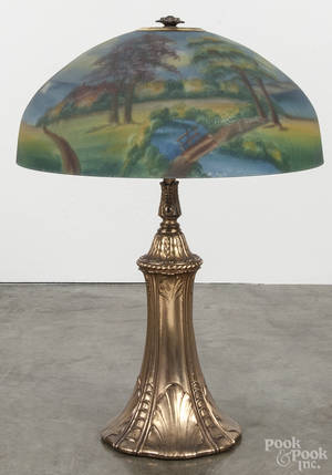 Reverse painted glass and bronze table lamp