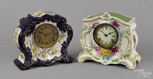 Two porcelain mantel clocks
