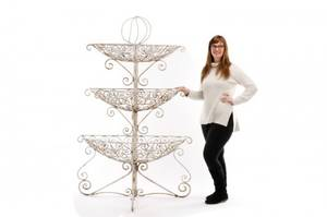 Large White Painted Iron 3 Tiered Garden Planter