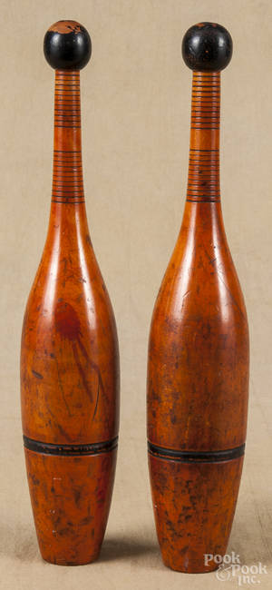 Pair of wooden Indian clubs