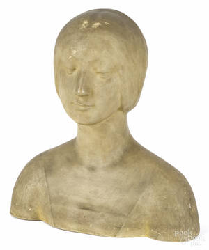Plaster bust of a woman early 20th c