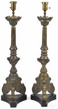 Pair of Continental brass ecclesiastical pricket sticks 18th19th c