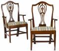 Pair of Hepplewhite mahogany armchairs ca 1900