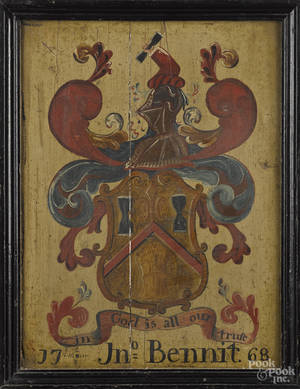 English oil on panel coat of arms