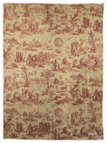 Rare French copper engraved curtain depicting Le Ballon de gonesse late 18th c
