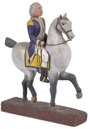 Paul Tyson carved and painted figure of George Washington on horseback