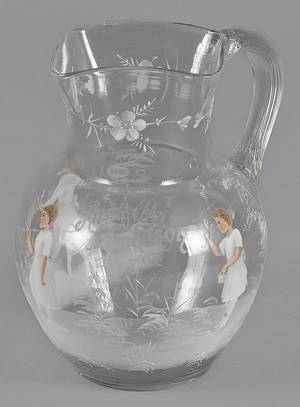 Mary Gregory enameled glass water pitcher
