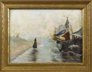 Dutch oil on board coastal scene
