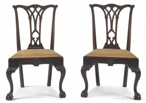 Pair of Philadelphia Chippendale carved mahogany dining chairs ca 1770