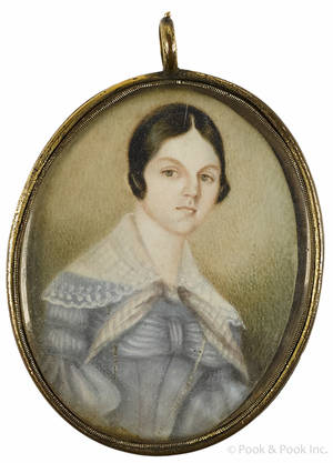 Miniature watercolor portrait of a young woman ca 1840