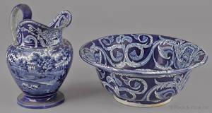 Blue Staffordshire English scenery pitcher and basin 19th c