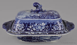 Blue Staffordshire sheltered peasants covered entre dish 19th c