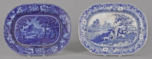Blue Staffordshire English scenery platter 19th c