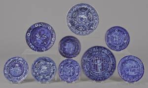 Nine assorted blue transfer decorated Staffordshire plates and shallow bowls 19th c