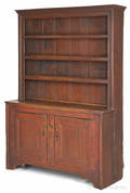 New England painted pine stepback cupboard ca 1800