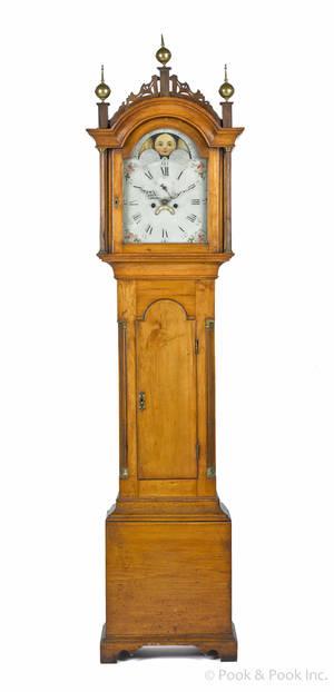 New England Federal birch tall case clock ca 1810