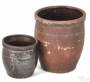 Two Pennsylvania redware crocks 19th c