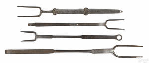 Four wrought iron forks 19th c